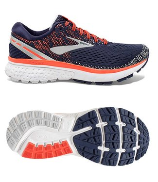 Brooks Ghost 11 w navy/coral/grey
