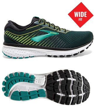 Brooks Ghost 12  wide 2E black/lime/blue grass