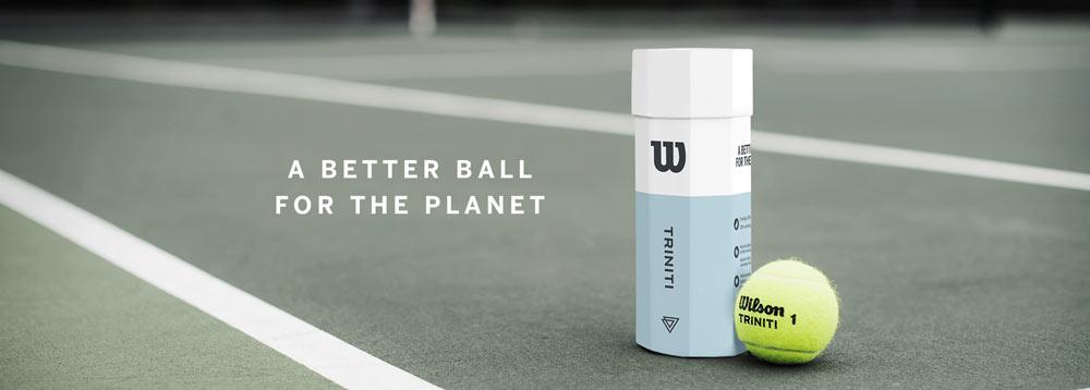 wilson trinity tennisballen op tennisbaan