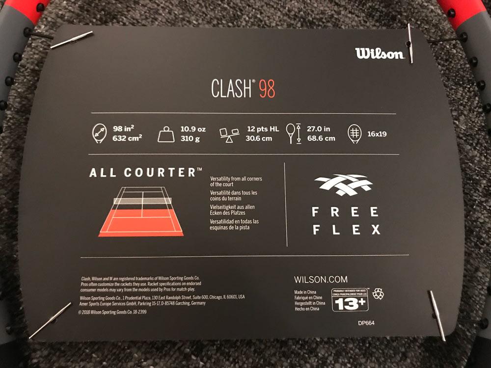 Specificaties Wilson Clash 98