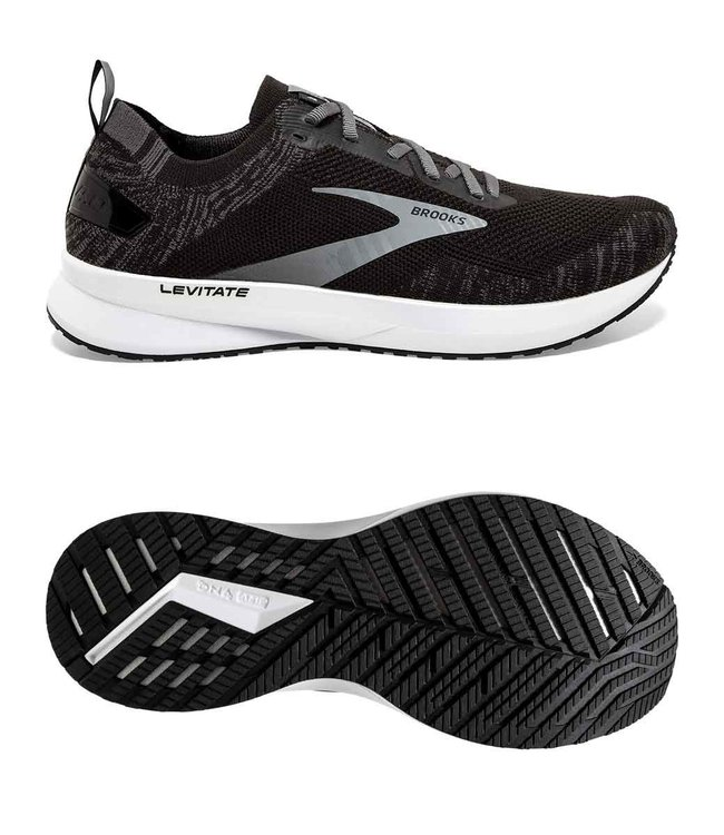 Brooks Levitate 4 | Black Blackened | Pearl White