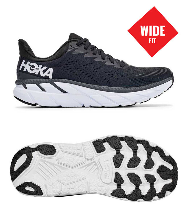 Hoka one one M Clifton 7 Wide 2E black/white