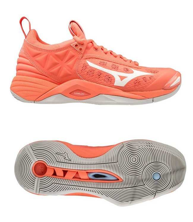 Mizuno Wave Momentum W  Living coral/Snow white