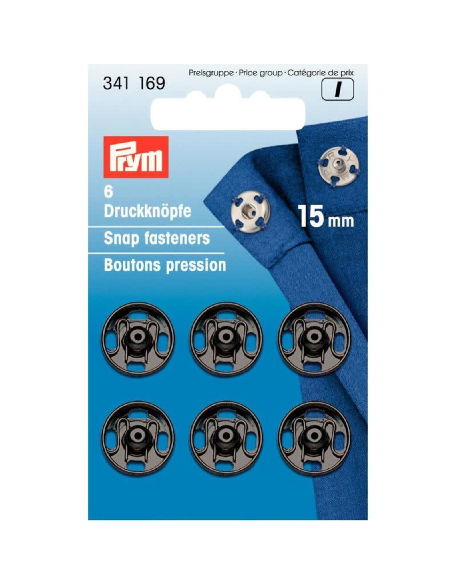Prym Prym Drukkers Zwart 15mm (krt)