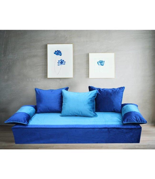 Blatex stof set blauw / turquaze
