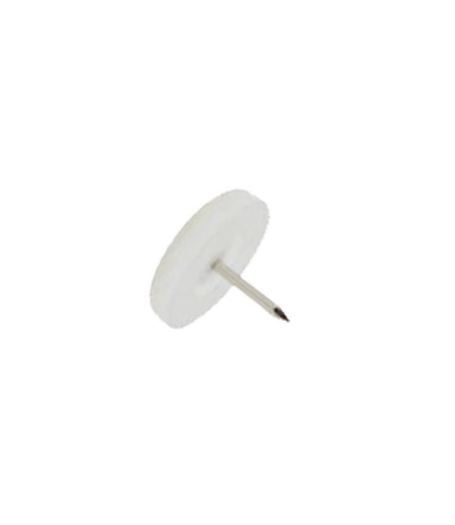 Viltnagel, nylon wit met nagel diameter 20 mm per 4 stuks