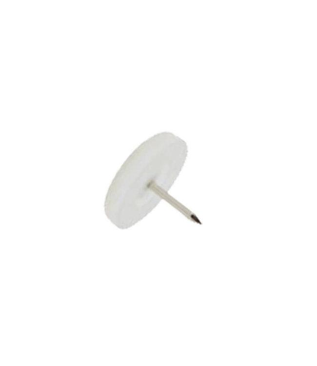 Viltnagel, nylon wit met nagel diameter 24 mm per 4 stuks