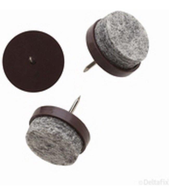 Viltnagel, nylon bruin met nagel diameter 20 mm per 4 stuks