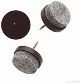 Viltnagel, nylon bruin met nagel diameter 24 mm per 4 stuks