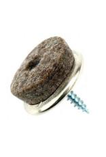 Luxe viltglijder, chroom met schroef ø25 mm per 16 stuks