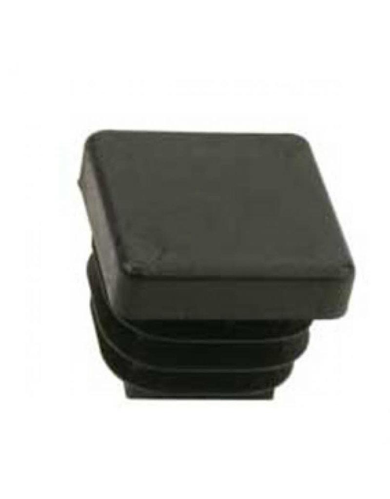 Buisstop vierkant, zwart kunststof 20 x 20 mm lamelstop