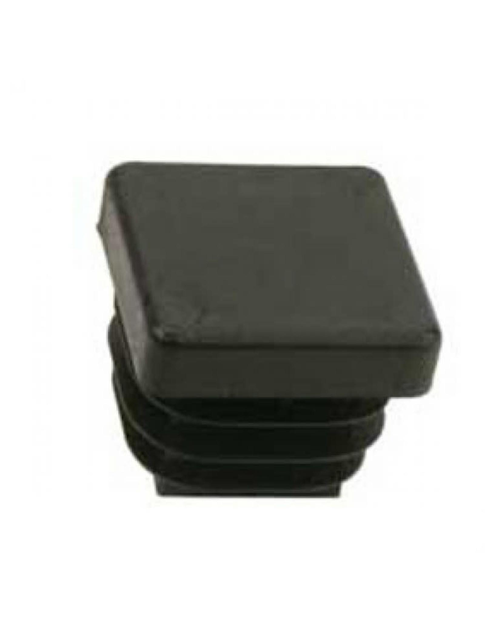 Buisstop vierkant, zwart kunststof 25 x 25 mm lamelstop per 4 stuks