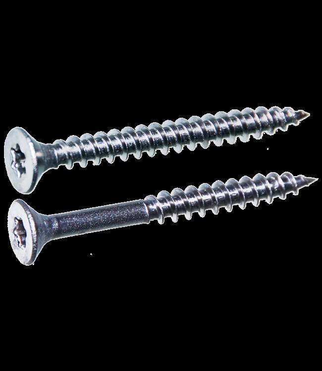 Spaanplaatschroeven platkop deeldraad 4.0x45/27 TX-20 staal gehard verzinkt per 200 stuks