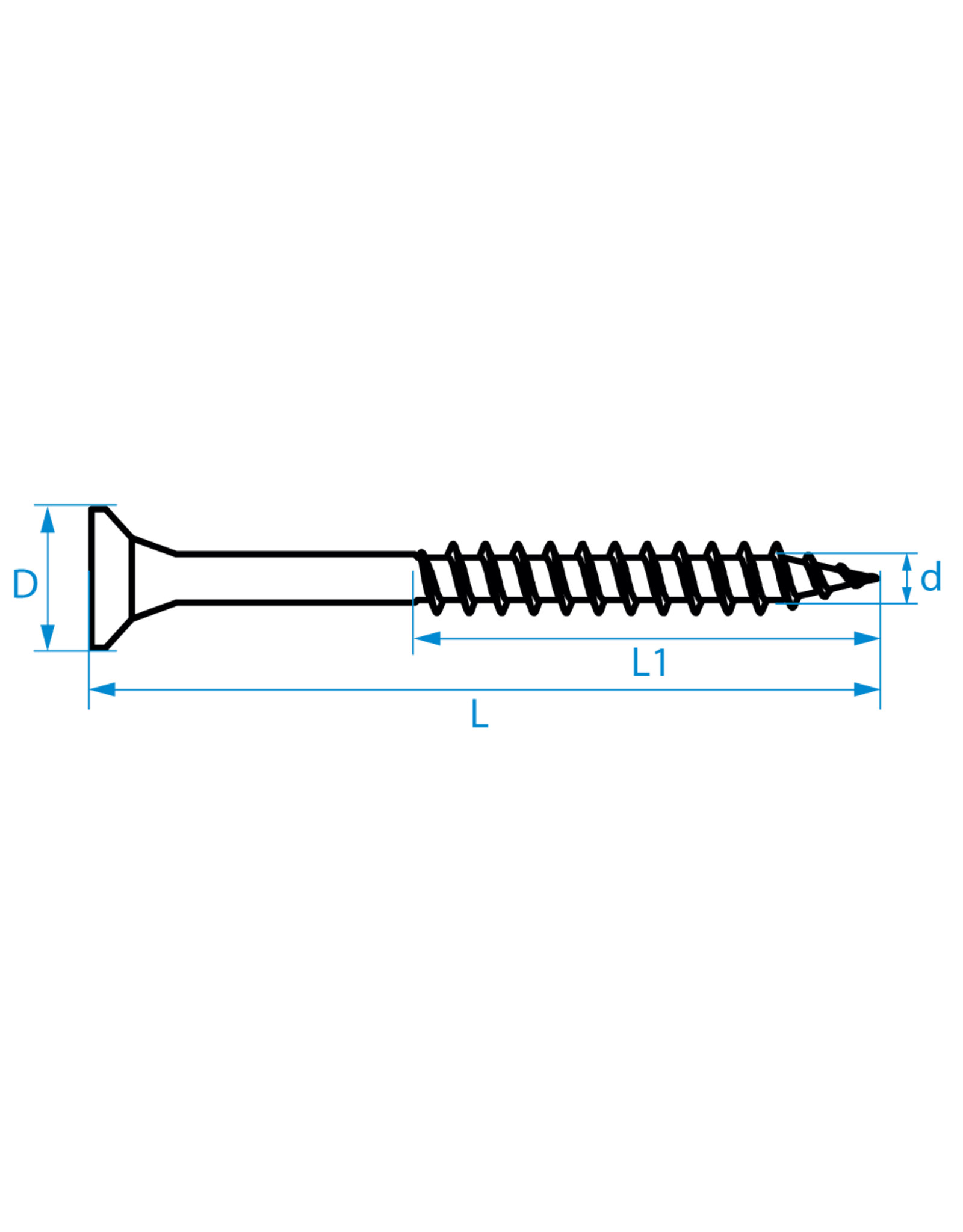 Spaanplaatschroeven platkop deeldraad 4.5x40/24 TX-20 staal gehard verzinkt per 200 stuks