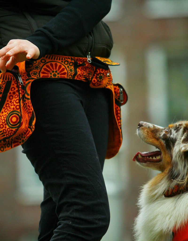 Doppel Hip Bag für Hundebesitzer - orange/rot