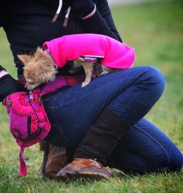 Doppel Hip Bag für Hundebesitzer - pink gemustert
