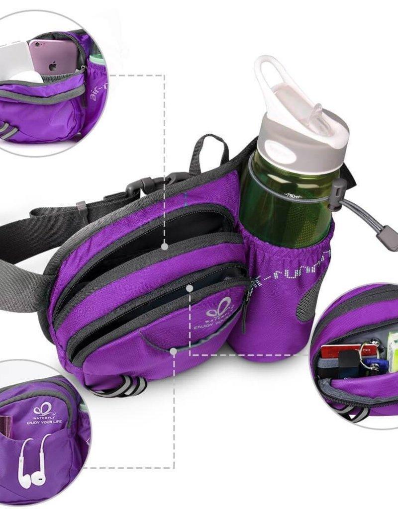 Gürteltasche mit Wasserflaschenhalter lila