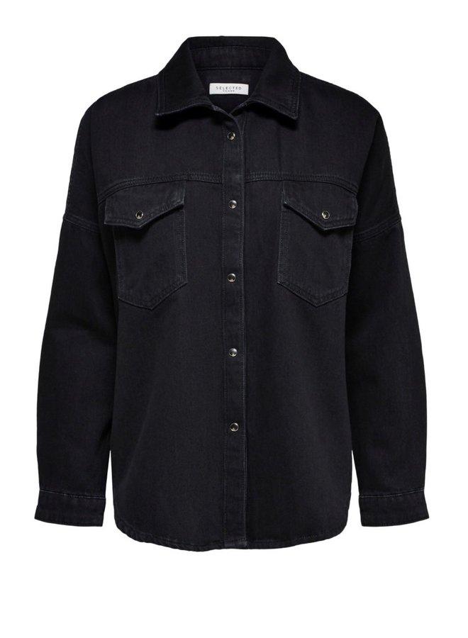 slfally black denim shirt