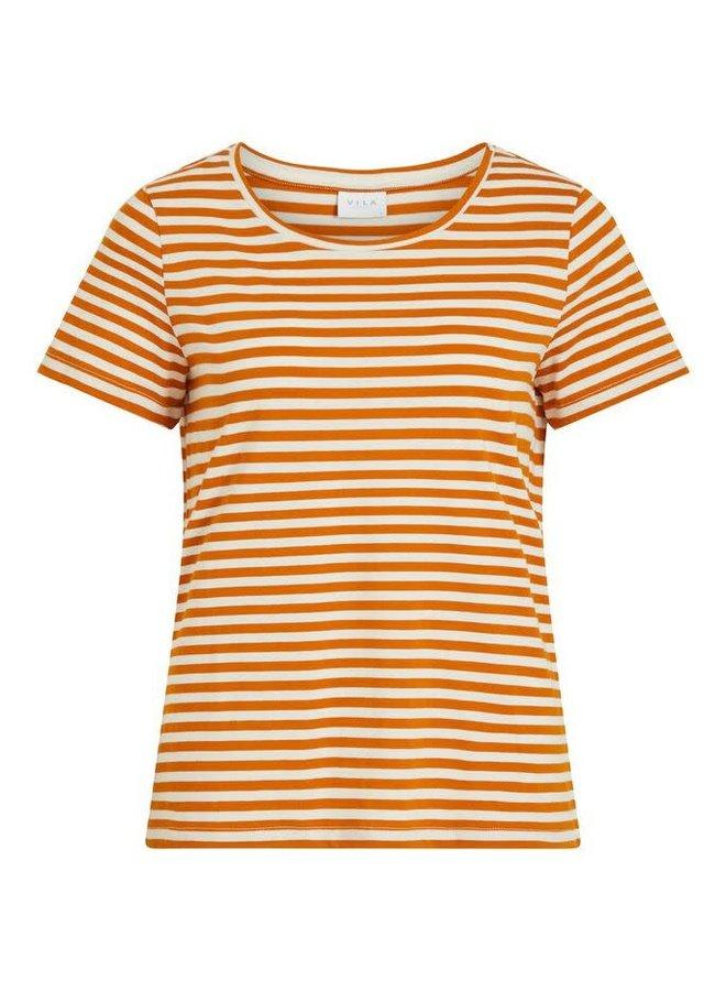 Visus o-neck t-shirt camel stripe