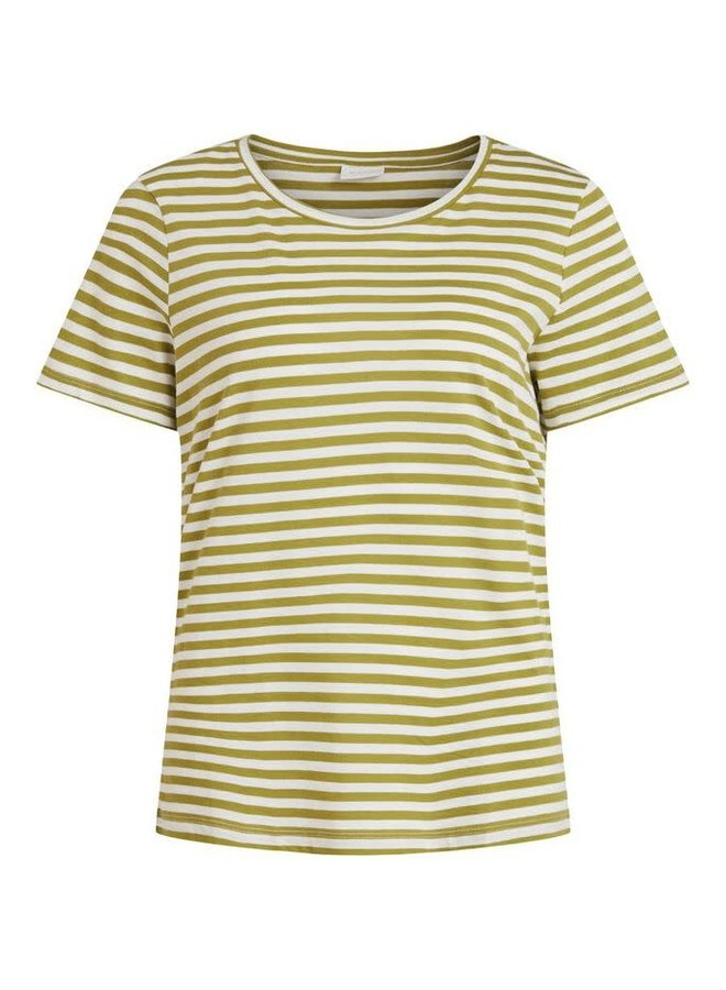 Visus O-Neck T-Shirt Stripe Green Olive