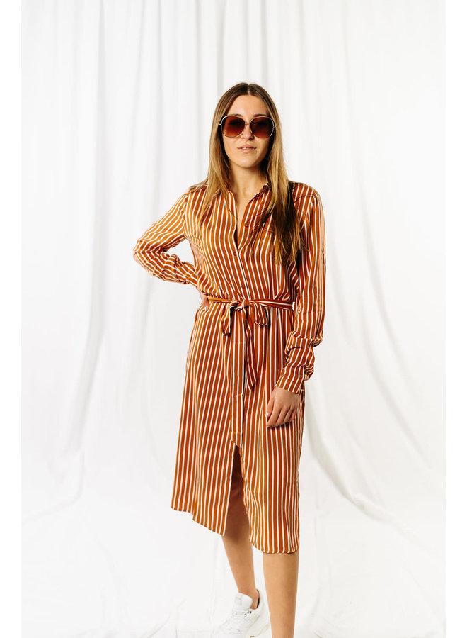 Vidania Belt Shirt Dress Camel Stripe