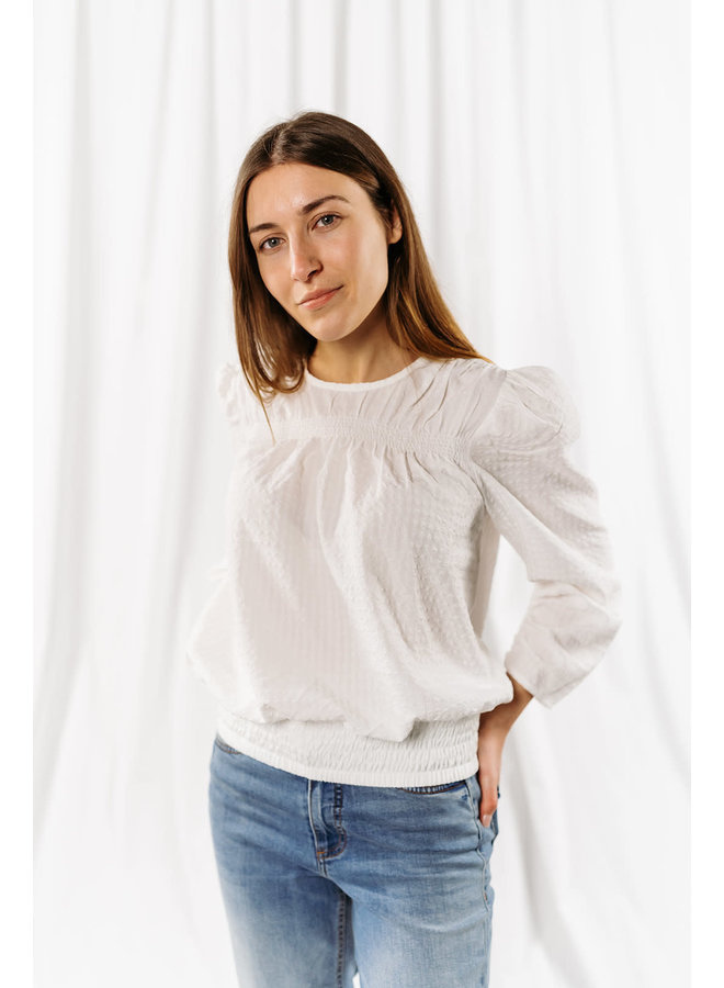 Ange Check Blouse  Off White
