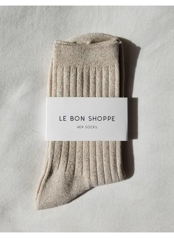 Her Socks Ivory Gold Lurex