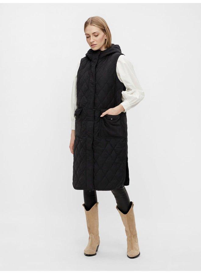 Yasolona Long Padded Waistcoat Black