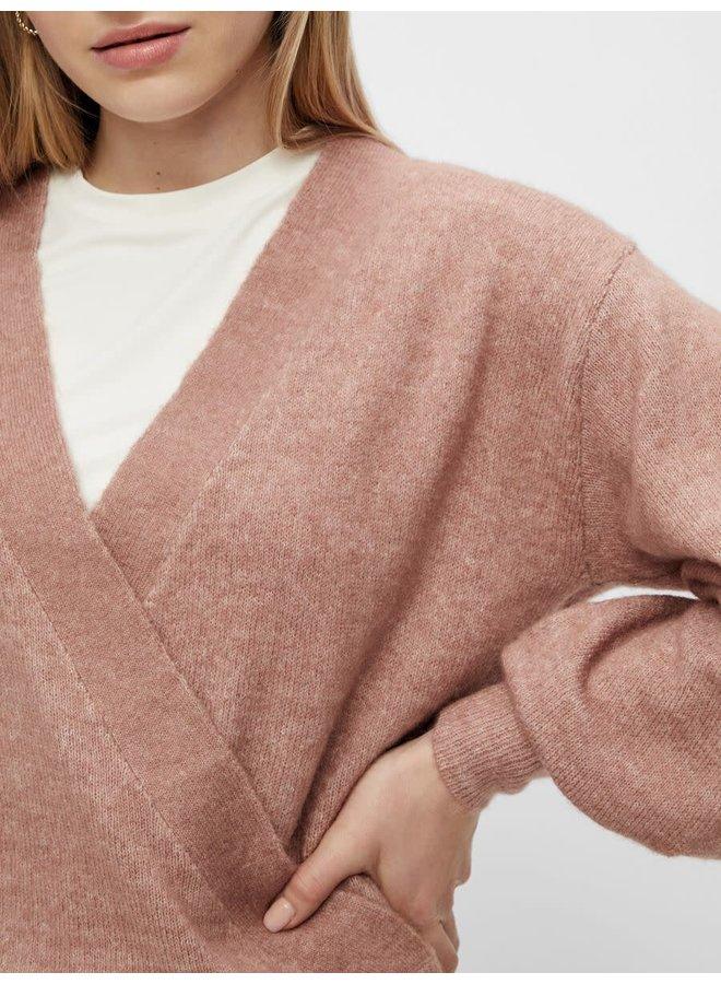 Yasagate LS Wrap Knit Pullover Mocha Mousse