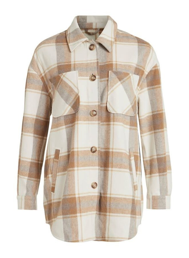 Vikimmi Check Shirt Jacket Hazelnut