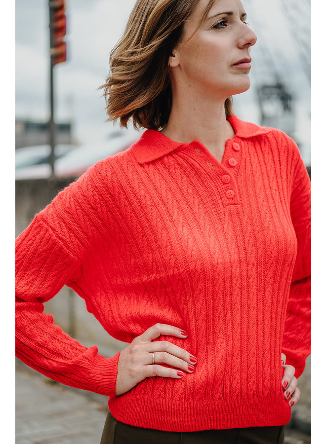 Yasfierly LS Knit Polo Fiercy Red