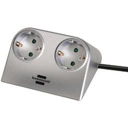 Brennenstuhl Stekkerdoos Desktop-Power 2-Wegs 1.80 m Zilver - Protective Contact