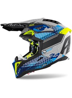 Airoh Motocross Helm Aviator 3 Wave silver gloss