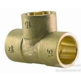 T conector soldadura  15mm x 15mm x 15mm  latón