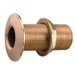 """Thru hull brass with nut 3/4""""  L= 60 mm"""