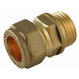 "Coupling straight 12 mm x 1/4"" brass, male."