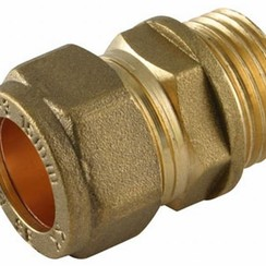 "Coupling straight 15 mm x 1/4"" brass, male."