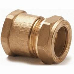 "Coupling straight 12 mm x 3/8"" brass, female."