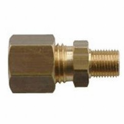 "Coupling GAS straight 10 mm x 1/4"""" brass, female."
