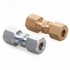 Koppeling GAS recht 6mm x 6mm messing