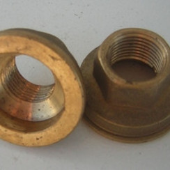 "Messing HEX moer-ring 1/2"" x 44 mm. H=25 mm."