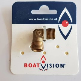 "Boat Vision Knie 90° messing male-male  1/4"" x 8 mm"