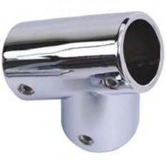 T 60° linkse rail fitting Inox 22mm