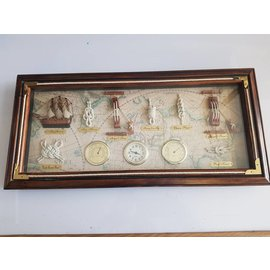 Sailors knot board with instruments in a frame 54 x 25cm