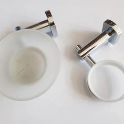 Juego de jabonera y soporte de vidrio