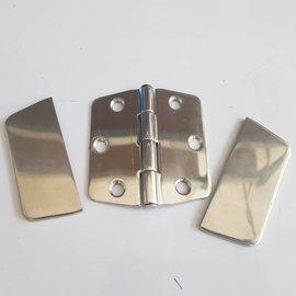 RC-Inox Bisagra pulida con placa de cubierta de Inox 78 x 75mm