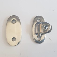 Polished hinge eye with cover Inox 58 x 29mm