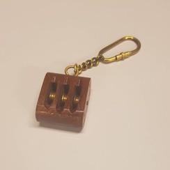 Sleutelhanger 3 schijs houten blok messing