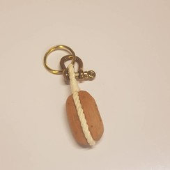 Keychain single block in wood and brass