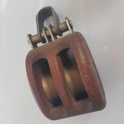 HYE Classic houten blok 2 messing schijven 40mm lijn 14mm
